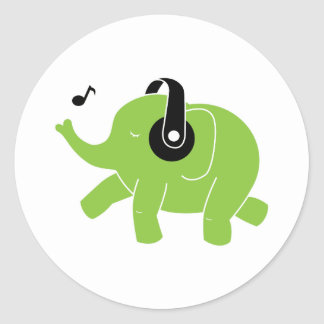 Dancing Elephant Classic Round Sticker