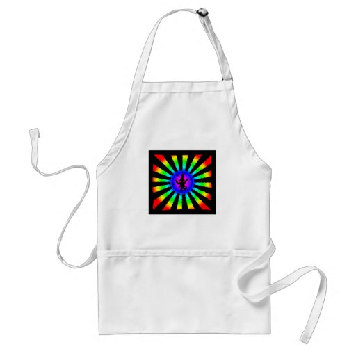 Dancing Elf in Rainbow Sun Rays - Adult Apron