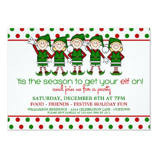 Dancing Elves Christmas Party 5x7 Paper Invitation Card