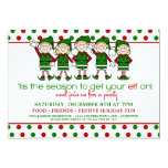 """Dancing Elves Christmas Party 5"""" X 7"""" Invitation Card"""