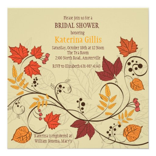 Dancing Fall Leaves Invitation