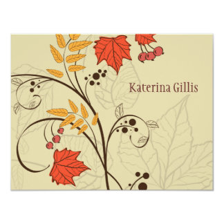 Dancing Fall Leaves Personalized Notecard Custom Invitation