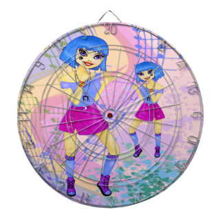 Dancing fashion illustration with bright blue hair dartboard with darts