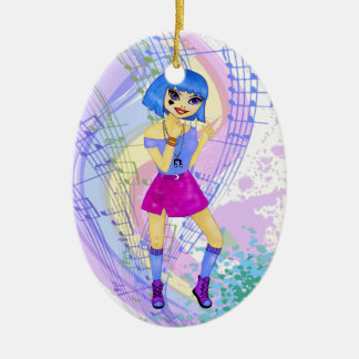 Dancing fashion illustration with bright blue hair Double-Sided oval ceramic christmas ornament