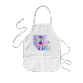 Dancing fashion illustration with bright blue hair kids' apron