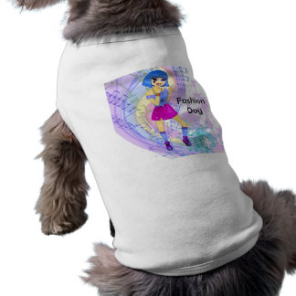 Dancing fashion illustration with bright blue hair tee