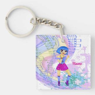 Dancing fashion manga illustration with blue hair keychain