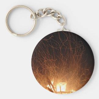 Dancing fire basic round button keychain