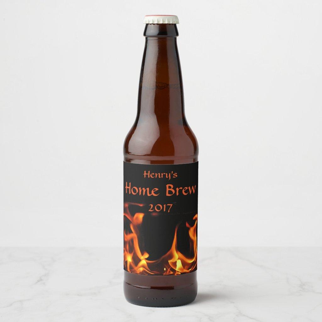 Dancing Fire Flames Orange and Black Beer Label