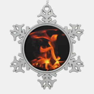 Dancing Fire Pewter Snowflake Ornament at Zazzle