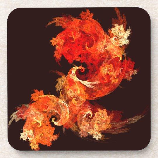 Dancing Firebirds Abstract Art Cork Coaster