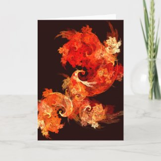 Dancing Firebirds Abstract Art Greeting Card