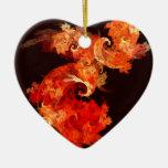 Dancing Firebirds Abstract Art Heart Ornament