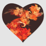 Dancing Firebirds Abstract Art Heart Sticker