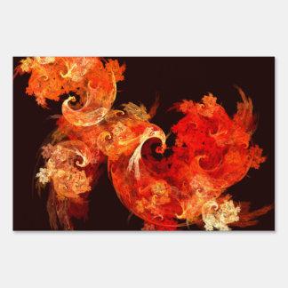 Dancing Firebirds Abstract Art Lawn Sign