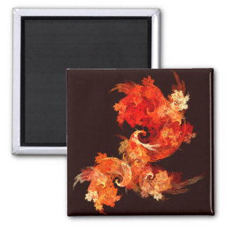 Dancing Firebirds Abstract Art Square Magnet