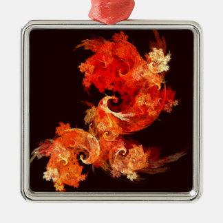 Dancing Firebirds Abstract Art Square Metal Ornament