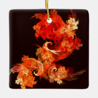 Dancing Firebirds Abstract Art Square Ornament