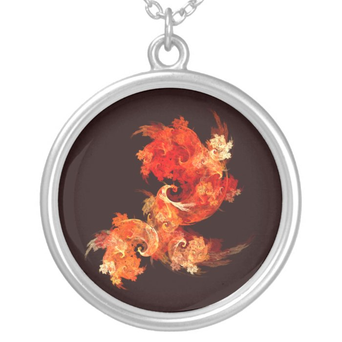 Dancing Firebirds Abstract Silver Necklace