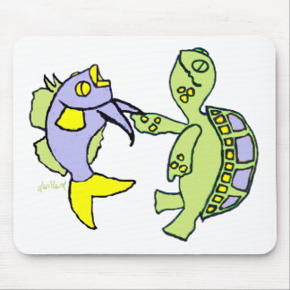 Dancing Fish and Turtle Mouse Pad