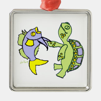 Dancing Fish and Turtle Christmas Tree Ornaments