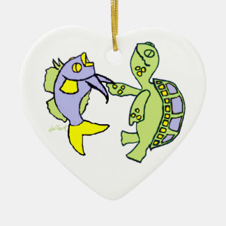 Dancing Fish and Turtle Christmas Ornament