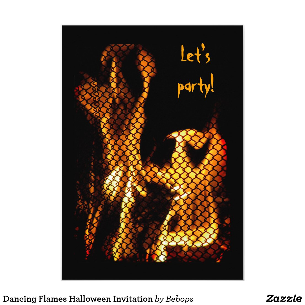 Dancing Flames Halloween Invitation