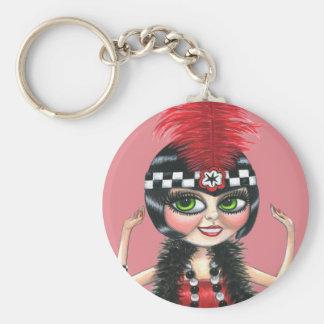 Dancing Flapper Girl Roaring Twenties Basic Round Button Keychain