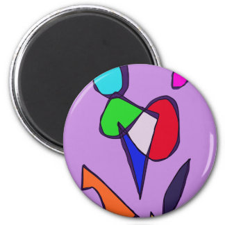 Dancing Flowers 2 Inch Round Magnet