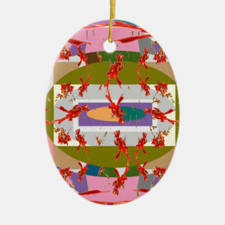 Dancing Flowers - Dance Floor Double-Sided Oval Ceramic Christmas Ornament