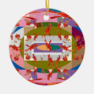 Dancing Flowers - Dance Floor Double-Sided Ceramic Round Christmas Ornament