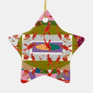 Dancing Flowers - Dance Floor Double-Sided Star Ceramic Christmas Ornament