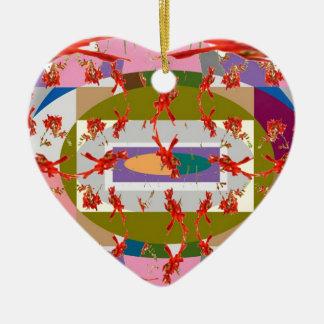 Dancing Flowers - Dance Floor Double-Sided Heart Ceramic Christmas Ornament