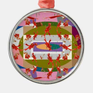 Dancing Flowers - Dance Floor Round Metal Christmas Ornament