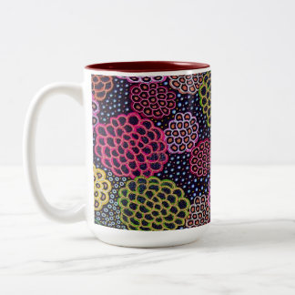 Dancing Flowers Two-Tone Coffee Mug