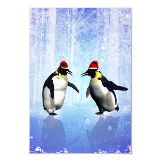 Dancing for christmas, funny penguin 3.5x5 paper invitation card