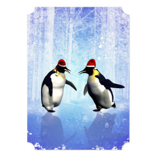 Dancing for christmas, funny penguin card