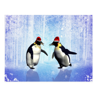 Dancing for christmas, funny penguin postcard