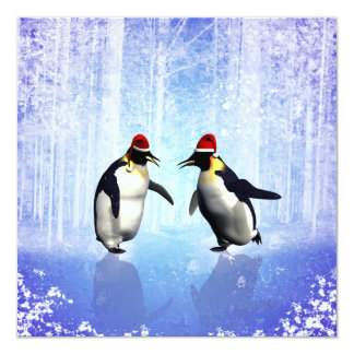 Dancing for christmas, funny penguine card