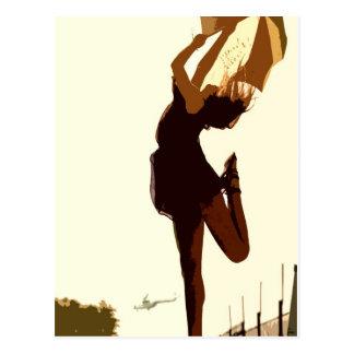 Dancing Free Lady in Golden Tones Digital Creation Postcard