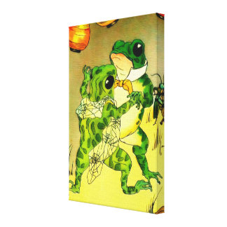 Dancing Frogs Stretched Canvas Print