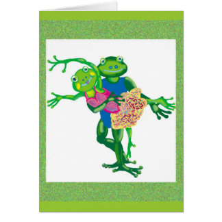 dancing frogs greeting card