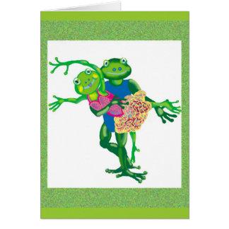 dancing frogs greeting card