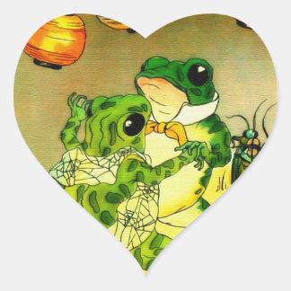 Dancing Frogs Heart Sticker