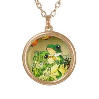Dancing Frogs Round Pendant Necklace