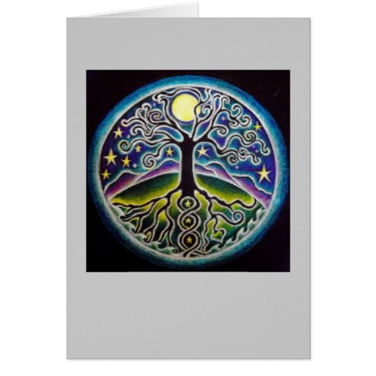 Dancing Full Moon Tree of Life Mandala Card