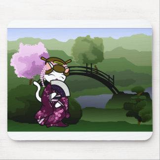Dancing Geisha Kitty Mouse Pad