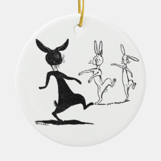 Dancing Ghostly Rabbits Vintage Louis Wain Double-Sided Ceramic Round Christmas Ornament