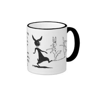 Dancing Ghostly Rabbits Vintage Louis Wain Ringer Coffee Mug