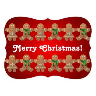 Dancing Gingerbread Cookies 5x7 Paper Invitation Card